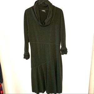 Athleta Cowlneck Wool/spandex dress forest Green